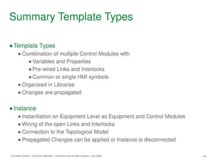 Summary Template Types
