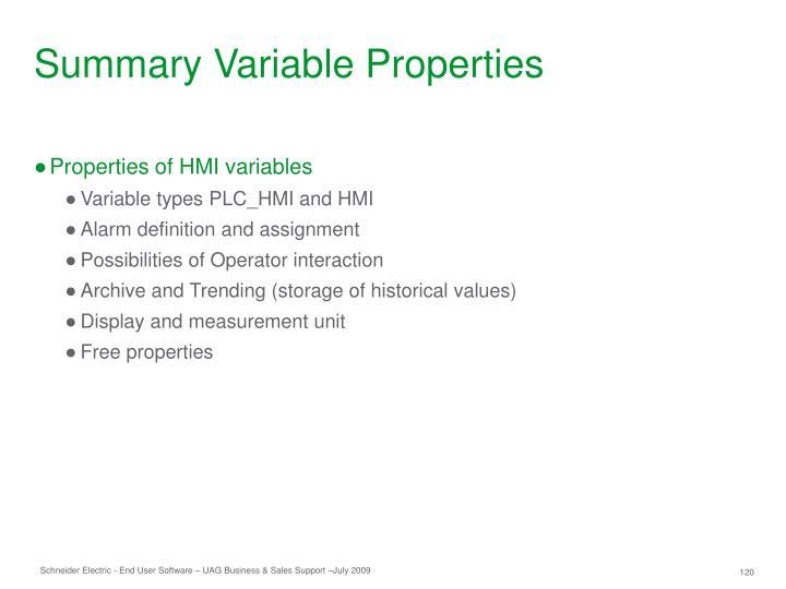Summary Variable Properties