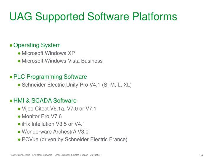 UAG Supported Software Platforms