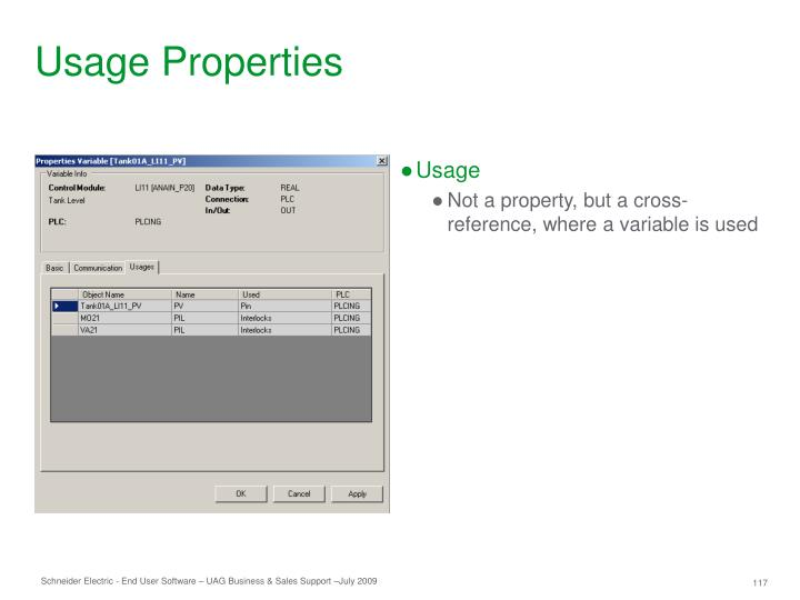 Usage Properties