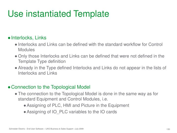 Use instantiated Template
