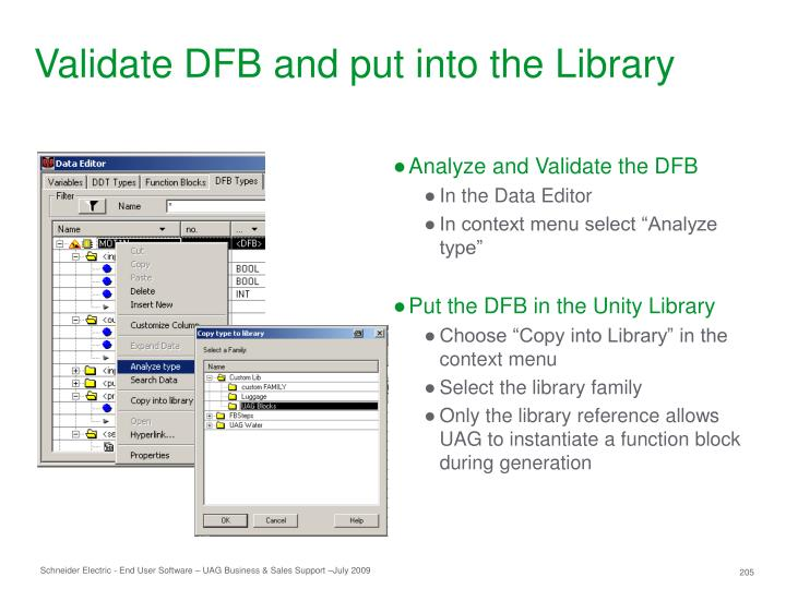Validate DFB and put into the Library