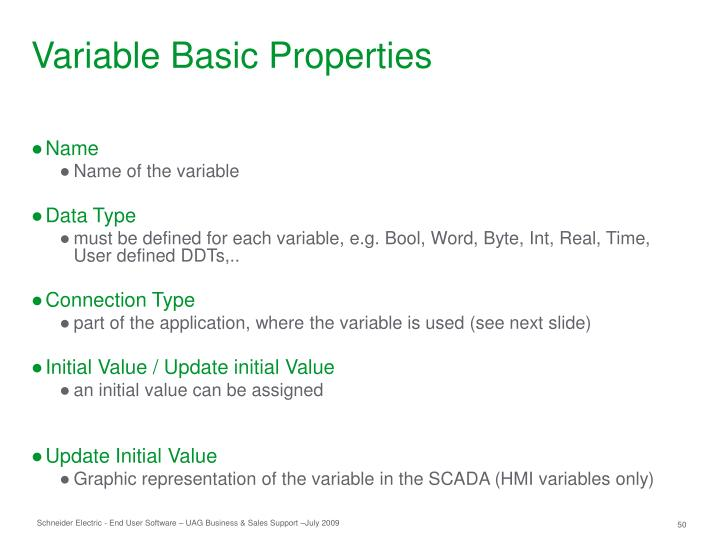 Variable Basic Properties