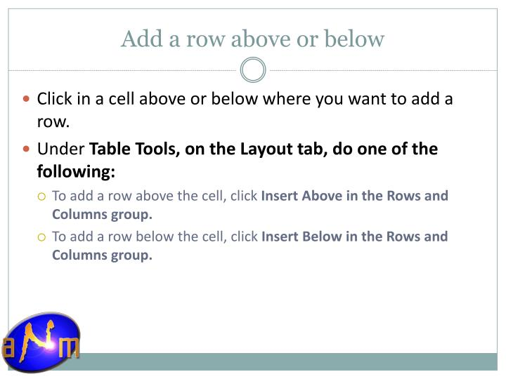 Add a row above or below