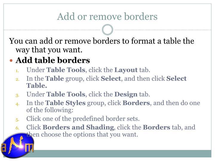 Add or remove borders