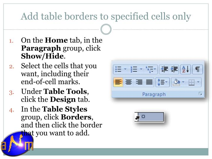 Add table borders to specified cells only