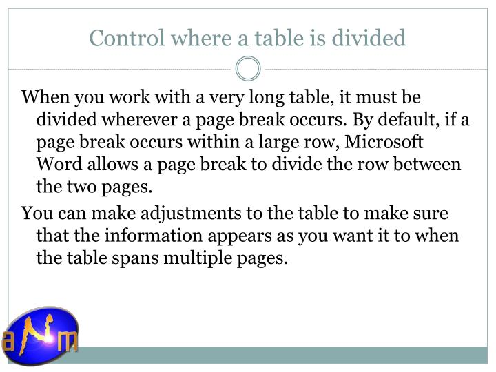 Control where a table is divided