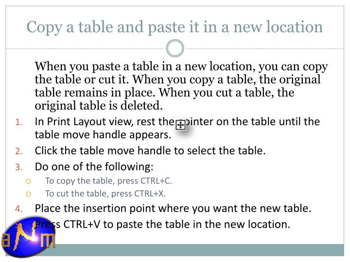 Copy a table and paste it in a new location