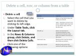 delete a cell row or column from a table