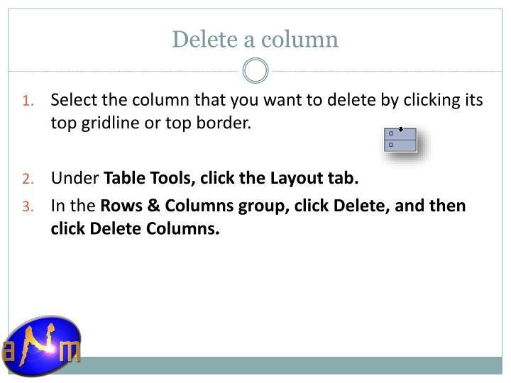 Delete a column