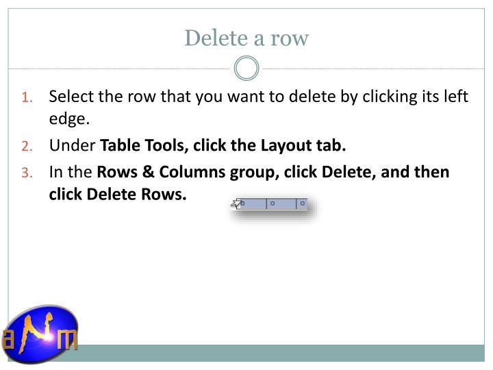 Delete a row