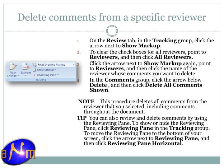 Delete comments from a specific reviewer