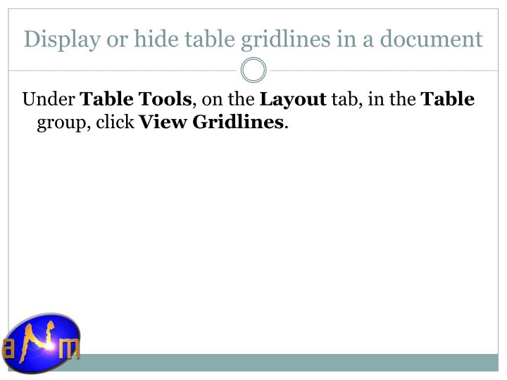 Display or hide table gridlines in a document