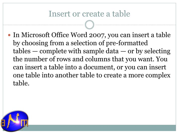 Insert or create a table