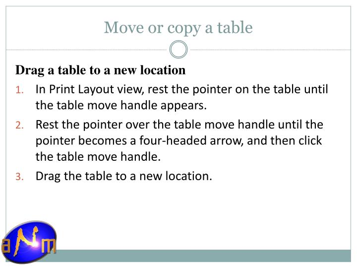 Move or copy a table