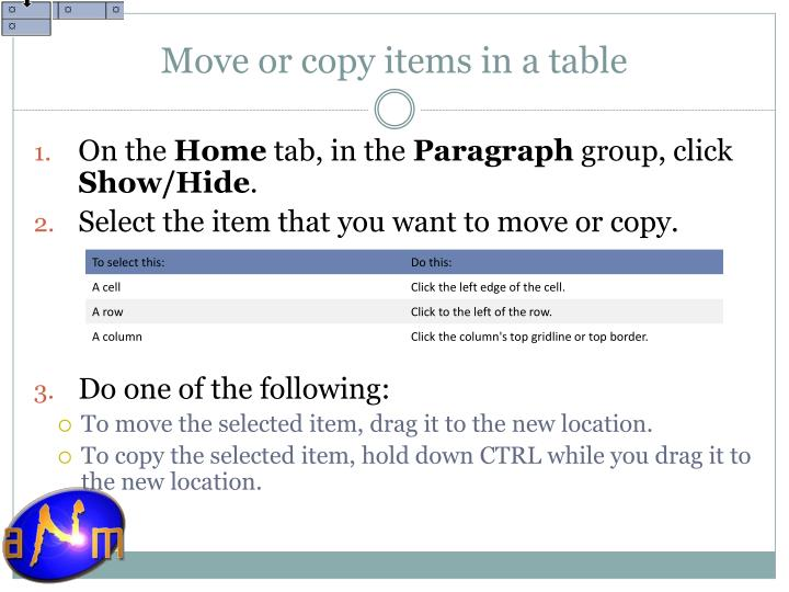 Move or copy items in a table