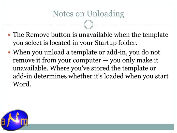 Notes on Unloading