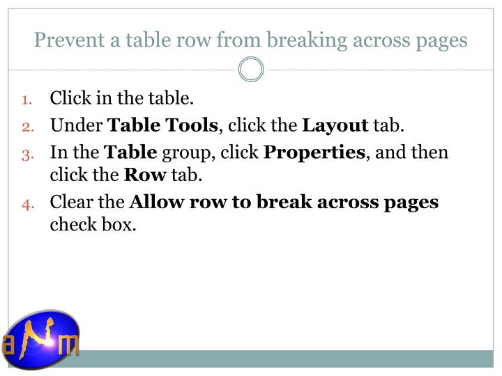 Prevent a table row from breaking across pages