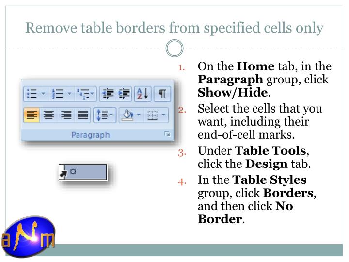 Remove table borders from specified cells only