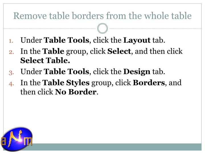 Remove table borders from the whole table