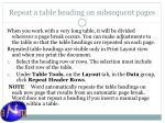 repeat a table heading on subsequent pages