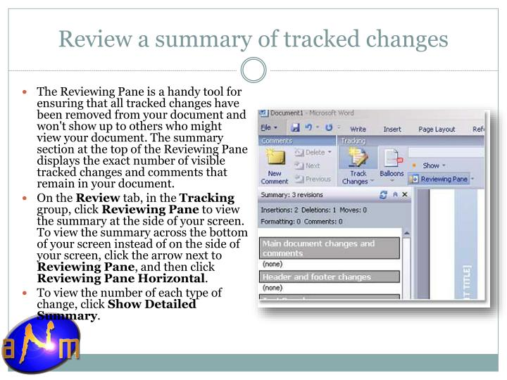 Review a summary of tracked changes
