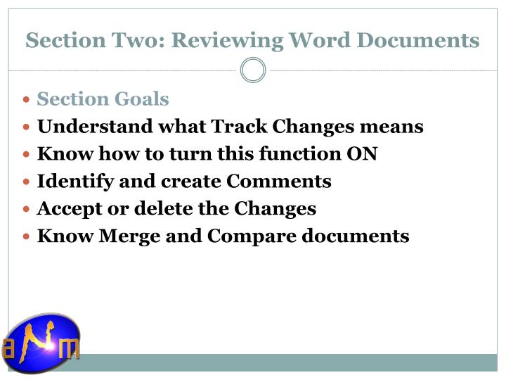Section Two: Reviewing Word Documents