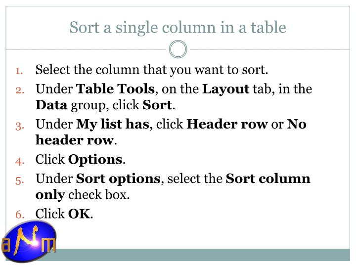 Sort a single column in a table