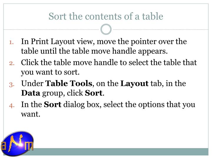 Sort the contents of a table