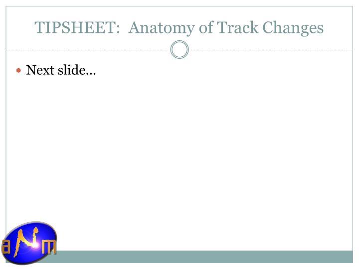 TIPSHEET:  Anatomy of Track Changes