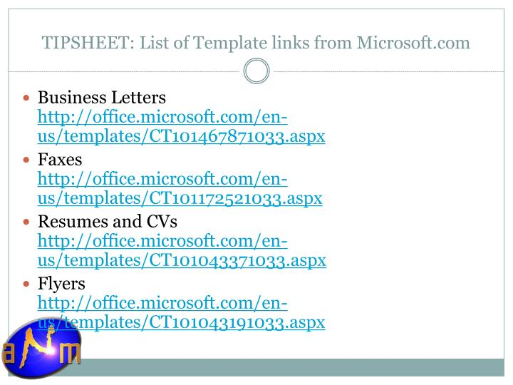 TIPSHEET: List of Template links from Microsoft.com