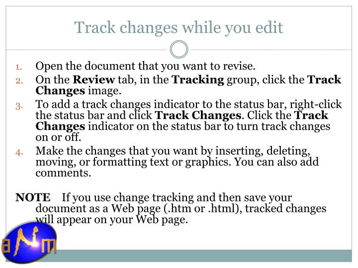 Track changes while you edit