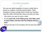 use table templates