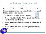 use the insert table command