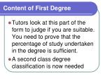content of first degree