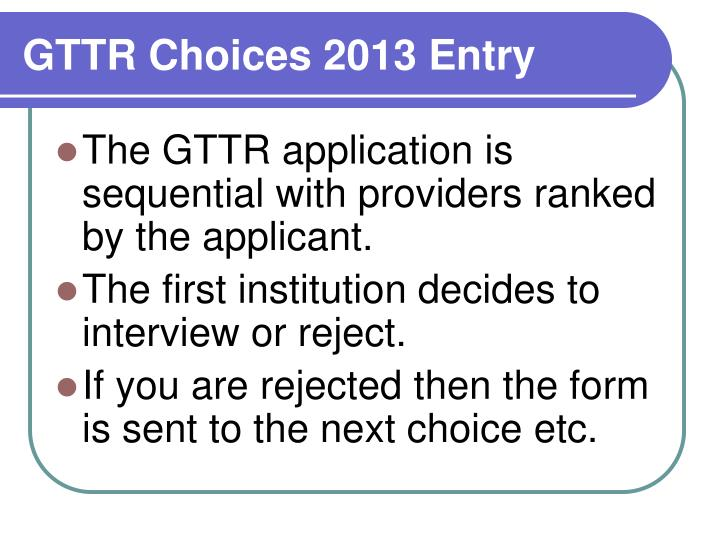 GTTR Choices 2013 Entry