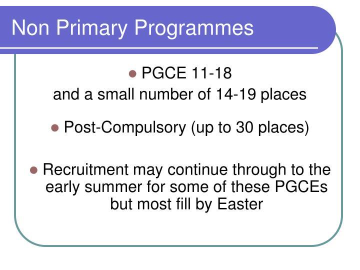 Non Primary Programmes