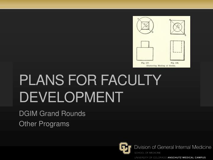 Plans for faculty development