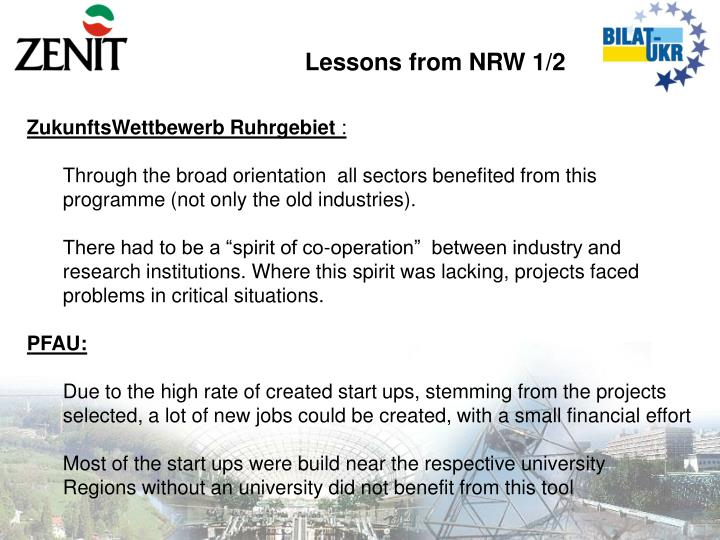 Lessons from NRW 1/2