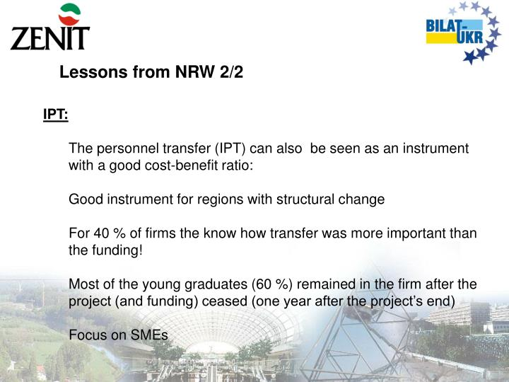 Lessons from NRW 2/2