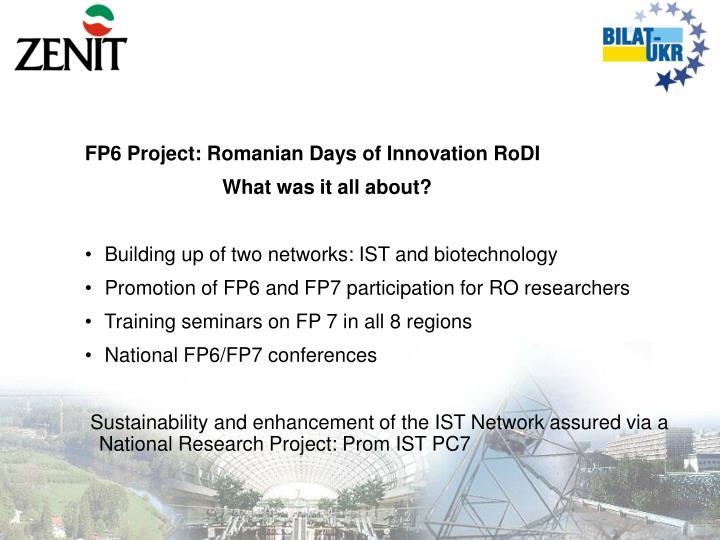 FP6 Project: Romanian Days of Innovation RoDI