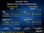 acuity pci switch from prior antithrombin