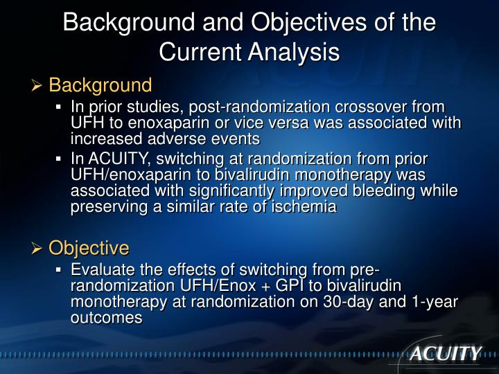 Background and Objectives of the Current Analysis