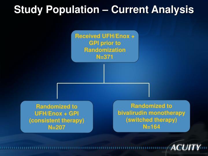 Study Population – Current Analysis