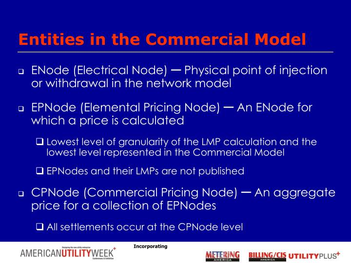 Entities in the Commercial Model