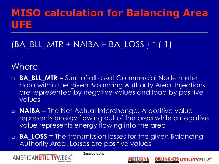 MISO calculation for Balancing Area UFE