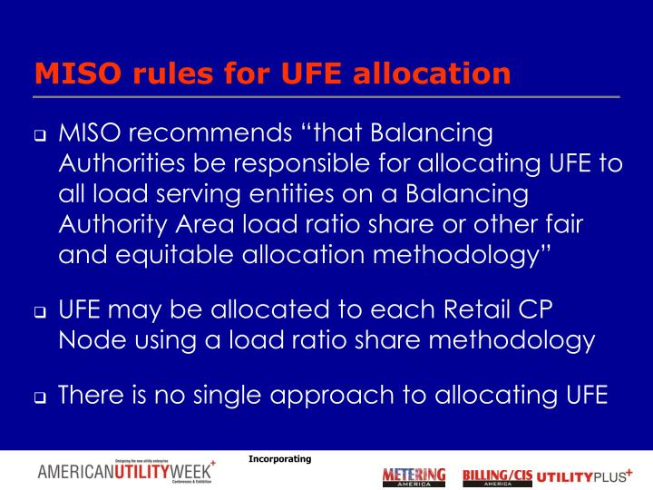 MISO rules for UFE allocation