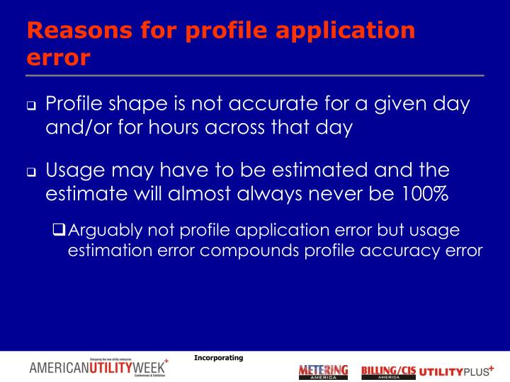 Reasons for profile application error