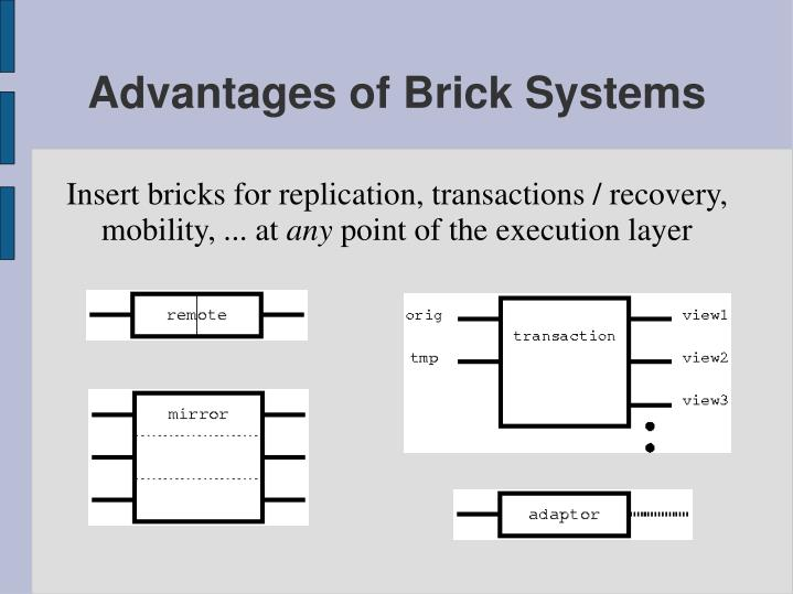 Insert bricks for replication, transactions / recovery, mobility, ... at