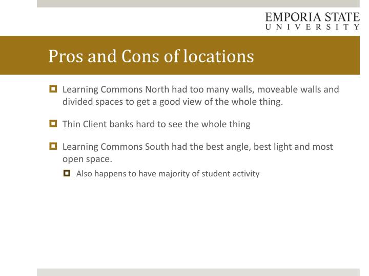 Pros and Cons of locations